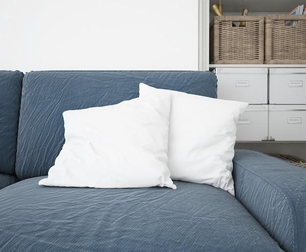 Cojines blancos maqueta en el sofá