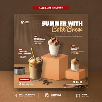 Cold brew coffee menu social media template