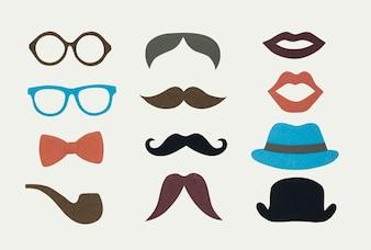 Coleção de ícone de hipster de homens