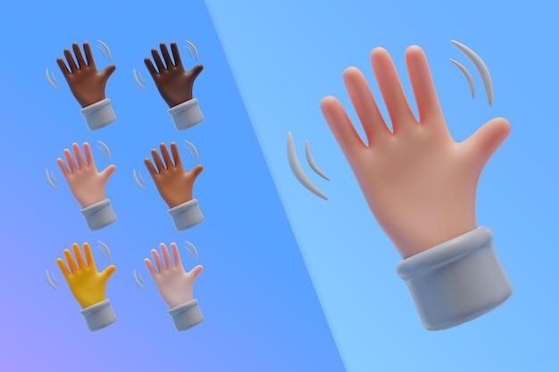 Colección 3d con manos agitando