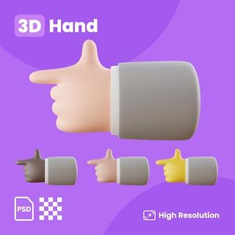 Colección 3d con las manos apuntando con el dedo índice a la izquierda