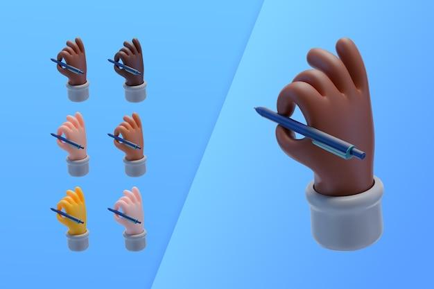 Colección 3d con manos escribiendo con bolígrafo
