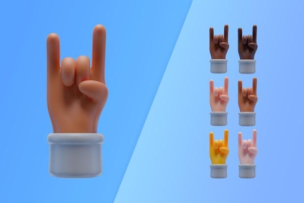 Colección 3d con manos haciendo letrero de rock and roll