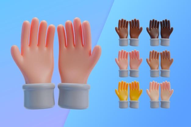 Colección 3d con manos mostrando las palmas juntas