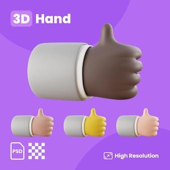 Colección 3d con manos mostrando el pulgar izquierdo hacia arriba