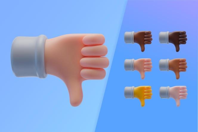 Colección 3d con manos mostrando los pulgares hacia abajo