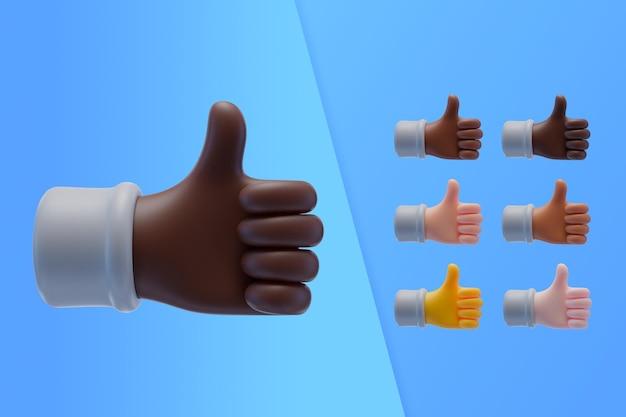Colección 3d con manos mostrando los pulgares para arriba