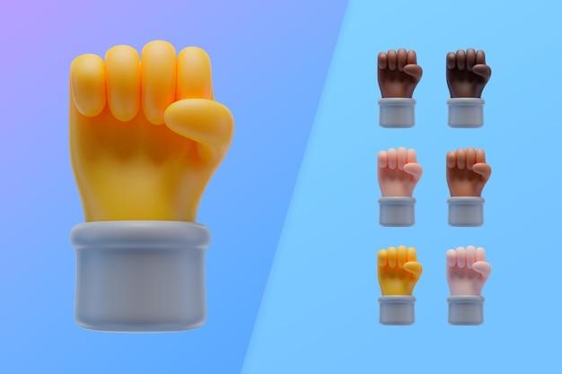 Colección 3d con manos mostrando puño