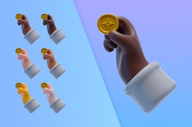 Colección 3d con manos sosteniendo monedas de criptomonedas
