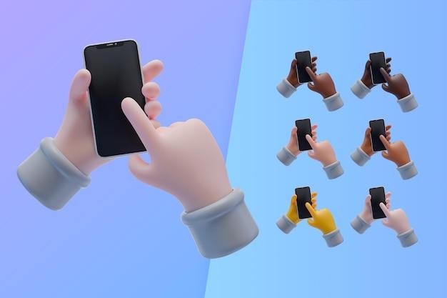 Colección 3d con manos sosteniendo smartphone