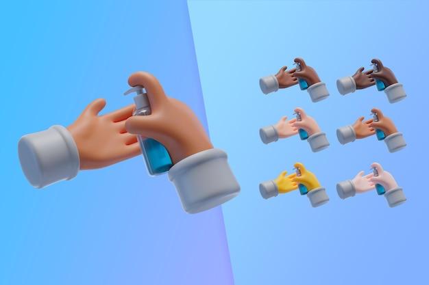 Colección 3d con manos usando desinfectante de manos