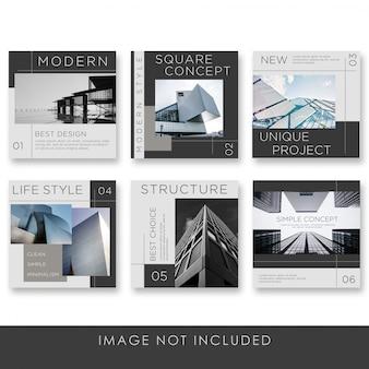 Colección de arquitectura de publicaciones en redes sociales con plantilla de color negro