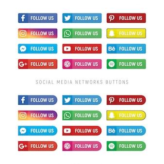 Colección de botones web de redes sociales