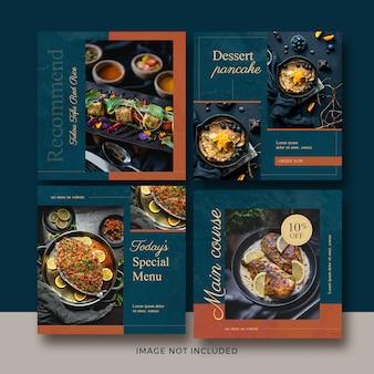 Colección de carteles de comida cuadrada
