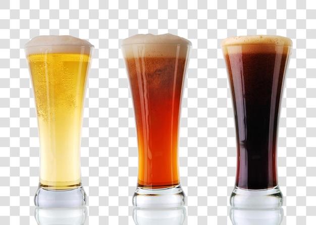 Colección de cerveza - tres vasos de cerveza. archivo psd en capas