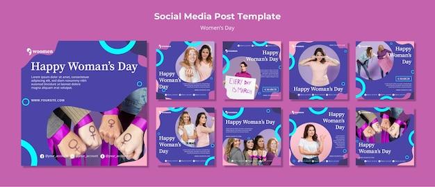 Colección colorida de publicaciones para instagram del día de las mujeres