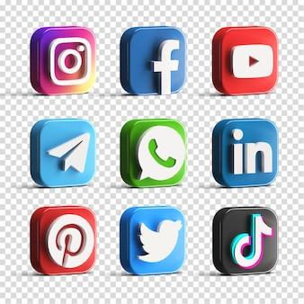 Colección de conjunto de iconos de logotipo de redes sociales brillantes populares