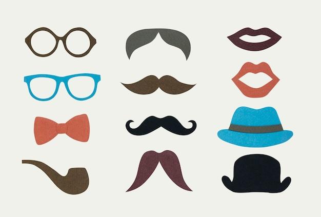 Colección de iconos de hipster de hombres