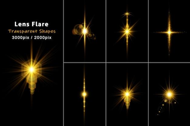 Colección de efectos brillantes de destello de lente dorada aislada