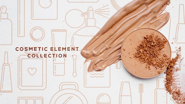 Colección de elementos cosméticos con polvo.