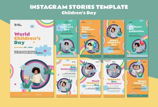 Colección de historias divertidas y coloridas del día del niño ig