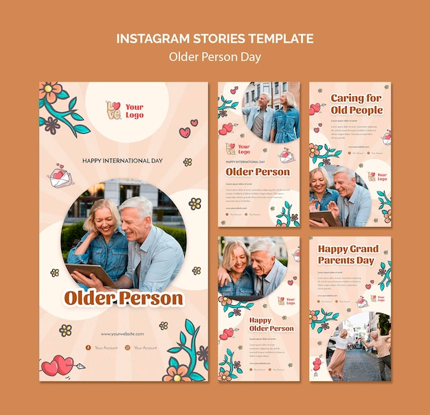 Colección de historias de instagram para asistencia y cuidado de personas mayores