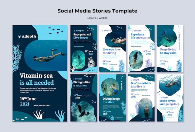 Colección de historias de instagram para el buceo submarino