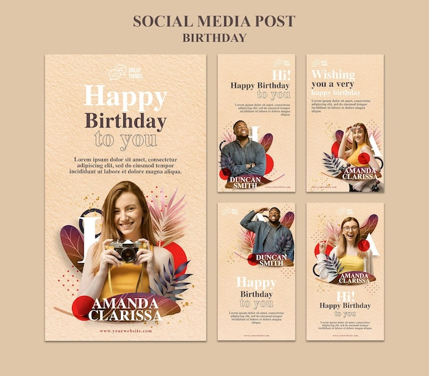Colección de historias de instagram para celebración de aniversario de cumpleaños