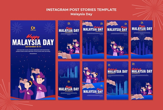 Colección de historias de instagram para la celebración del día de malasia