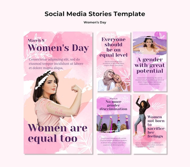 Colección de historias de instagram para la celebración del día de la mujer