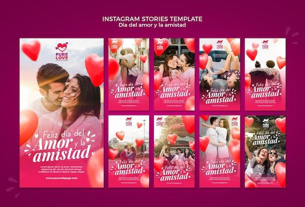 Colección de historias de instagram para la celebración del día de san valentín