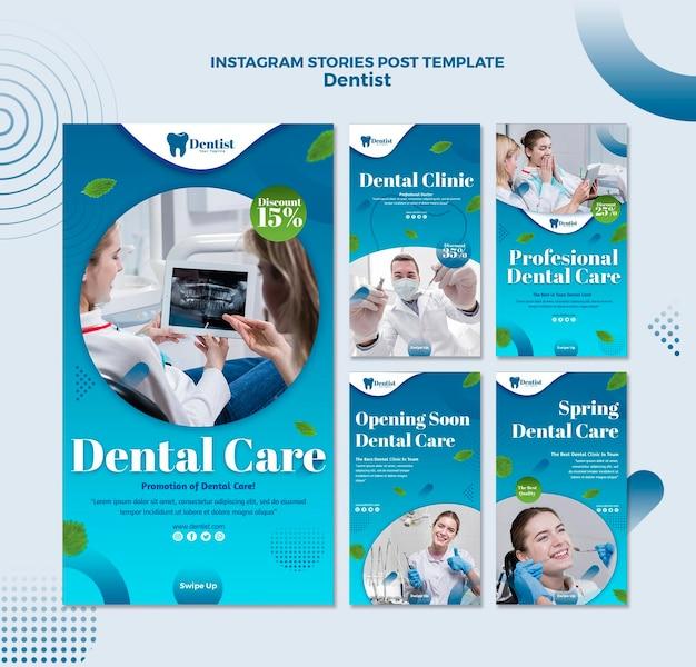 Colección de historias de instagram para el cuidado dental