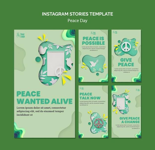 Colección de historias de instagram para el día internacional de la paz