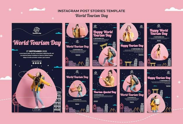 Colección de historias de instagram del día mundial del turismo