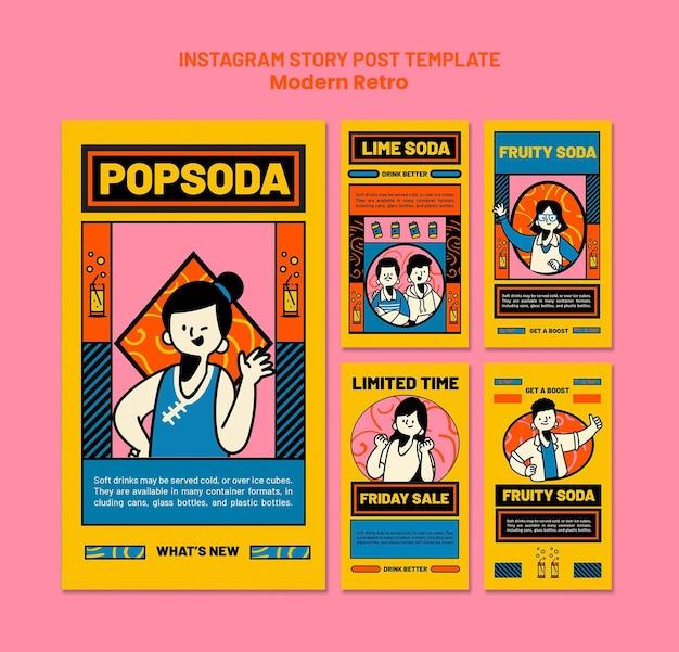 Colección de historias de instagram con diseño vintage moderno para refrescos