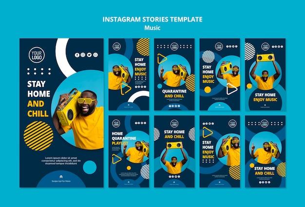 Colección de historias de instagram para disfrutar de la música durante la cuarentena