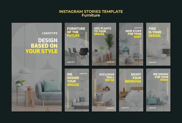 Colección de historias de instagram para empresa de diseño de interiores