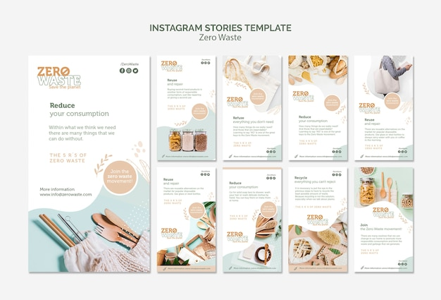 Colección de historias de instagram para un estilo de vida sin desperdicio