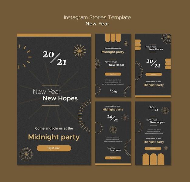 Colección de historias de instagram para la fiesta de medianoche de año nuevo