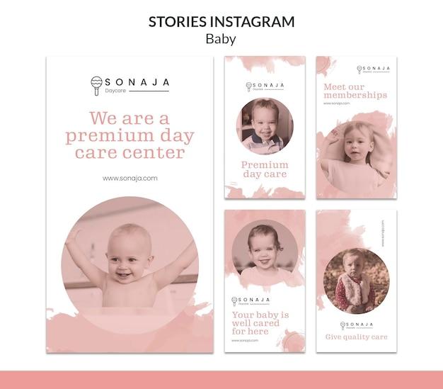 Colección de historias de instagram para guardería infantil