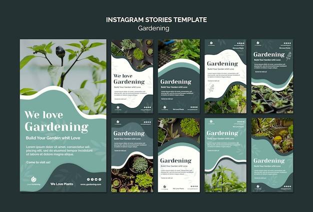 Colección de historias de instagram para jardinería