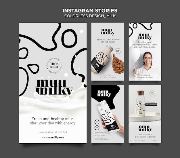 Colección de historias de instagram para leche con diseño incoloro