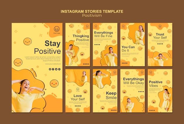 Colección de historias de instagram con mantenerse positivo