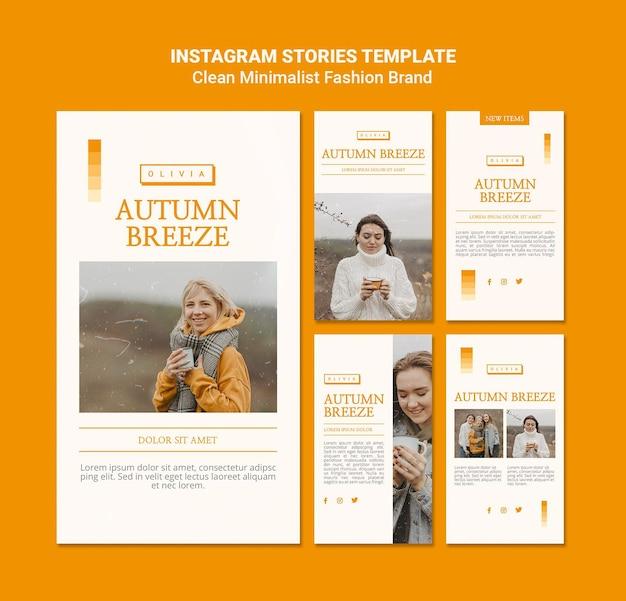 Colección de historias de instagram para la marca minimalista de moda otoñal