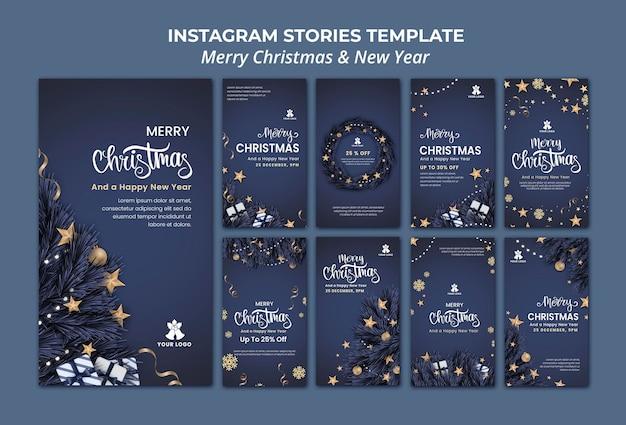 Colección de historias de instagram para navidad y año nuevo