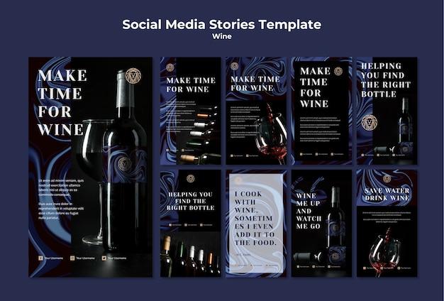 Colección de historias de instagram para el negocio del vino