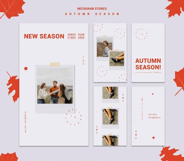 Colección de historias de instagram para la nueva colección de ropa de otoño