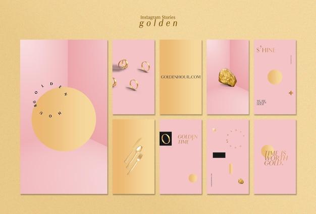 Colección de historias de instagram para oro lujoso