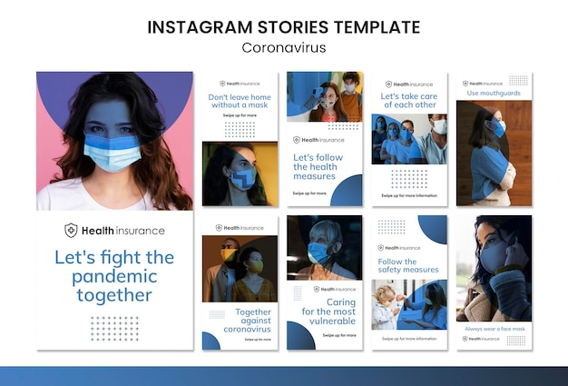Colección de historias de instagram para la pandemia de coronavirus con máscara médica