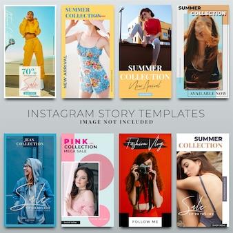 Colección de historias de instagram para la plantilla de redes sociales